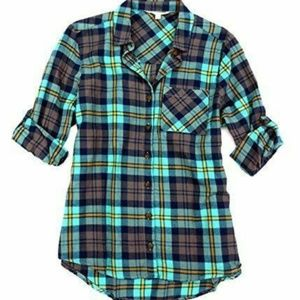 C&C California Green Flannel Button Down Size XS
